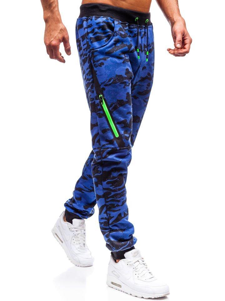 2d374778e34eeb Spodnie męskie dresowe joggery moro-niebieskie Denley 55025