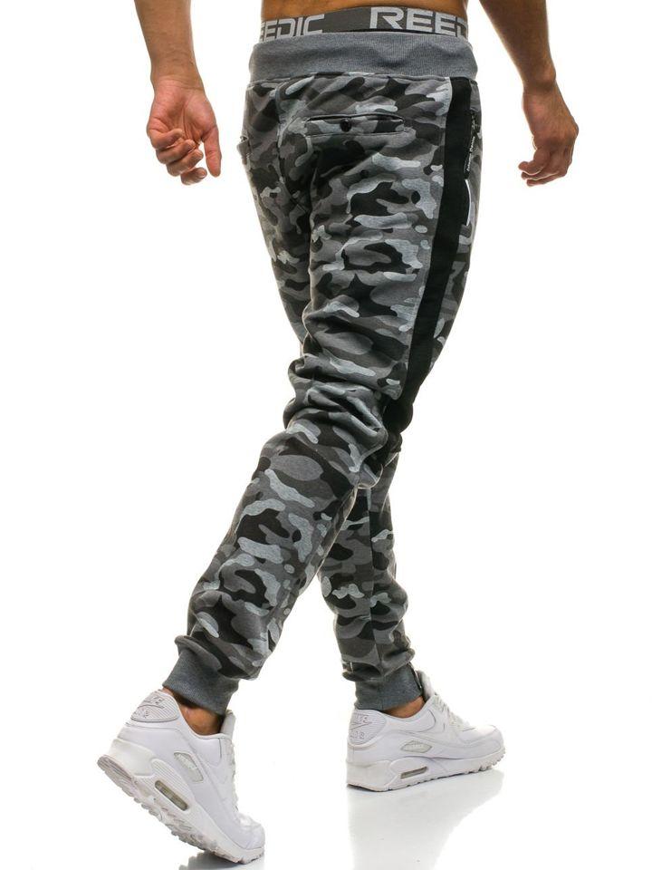 e1922521d6129b Spodnie męskie dresowe joggery moro-szare Denley QN269