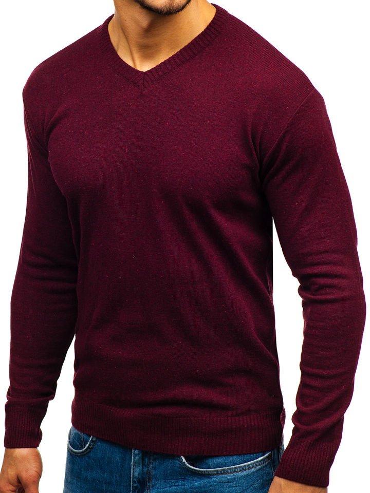 Sweter męski w serek bordowy Bolf 6002