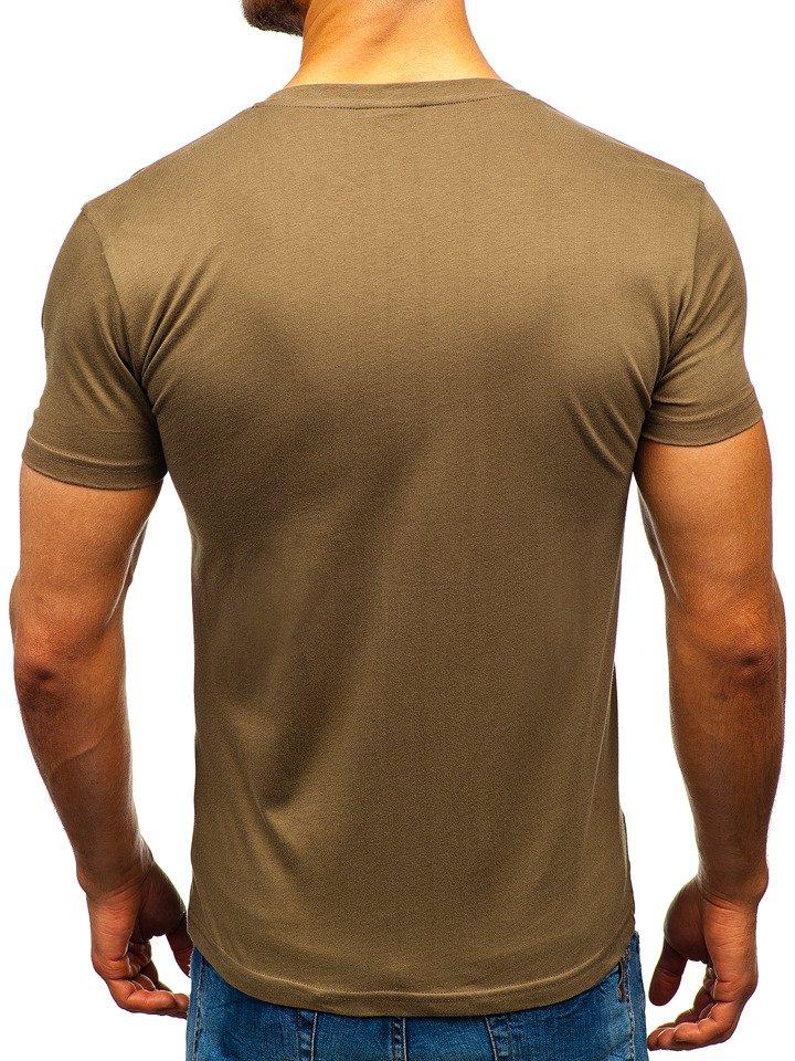 T shirt męski z nadrukiem zielony Bolf 181210