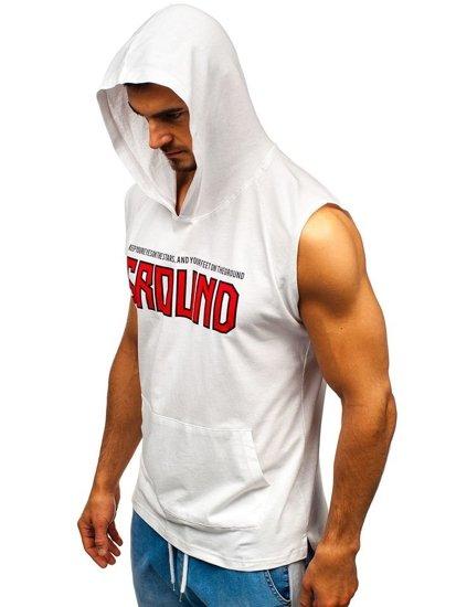 T-shirt męski z nadrukiem i kapturem biały Bolf 2859