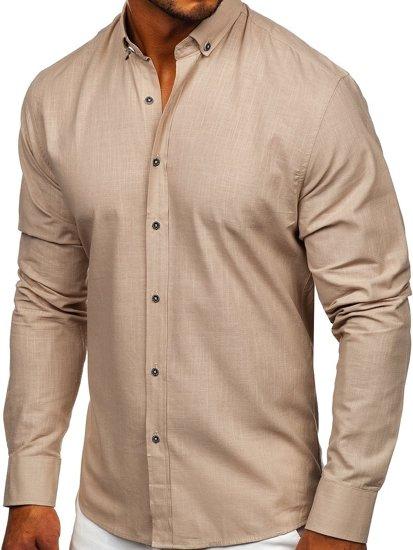 Beżowa bawełniana koszula męska z długim rękawem Bolf 20701