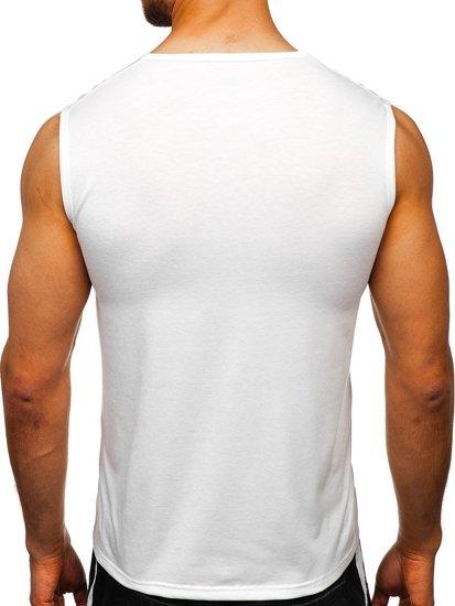 Biała koszulka tank top z nadrukiem Denley KS2077