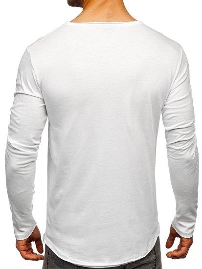 Biały Longsleeve męski bez nadruku Bolf 5059