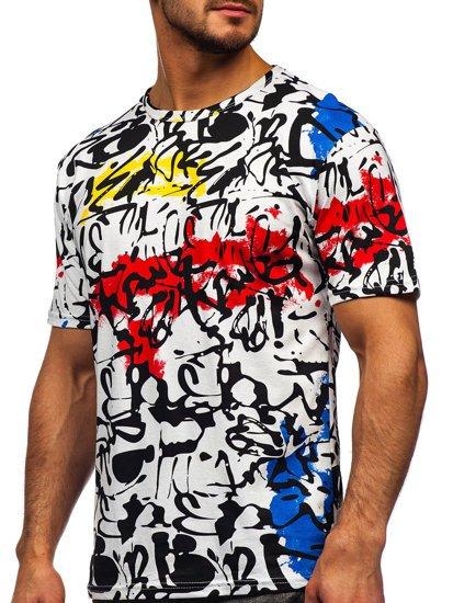 Biały T-shirt męski z nadrukiem Denley 14901