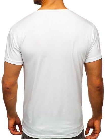Biały T-shirt męski z nadrukiem Denley KS1954