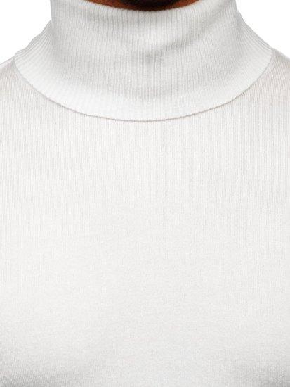 Biały golf sweter męski bez nadruku Denley YY02