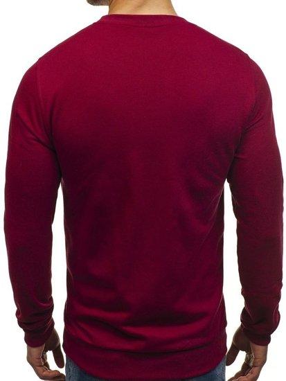 Bluza męska bez kaptura bordowa Denley 01