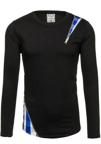 Bluza męska bez kaptura czarno-niebieska Denley 0754