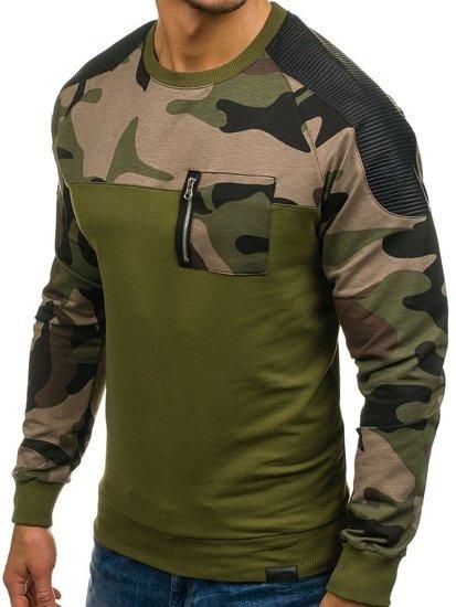 Bluza męska bez kaptura khaki Denley 0749