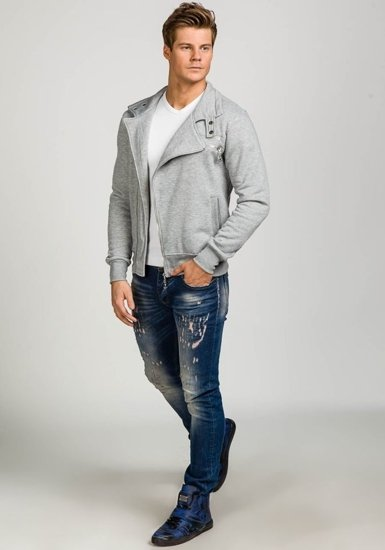 Bluza męska bez kaptura szara Denley 002