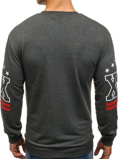 Bluza męska bez kaptura z nadrukiem antracytowa Denley 0384