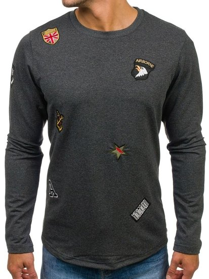 Bluza męska bez kaptura z nadrukiem antracytowa Denley 0739
