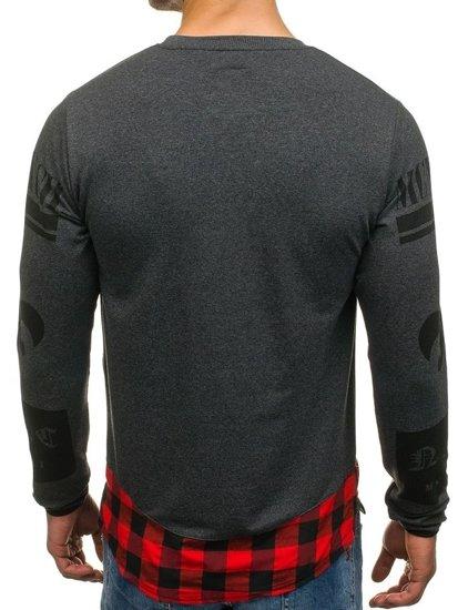 Bluza męska bez kaptura z nadrukiem antracytowa Denley 0765