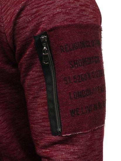 Bluza męska bez kaptura z nadrukiem bordowa Denley 1723