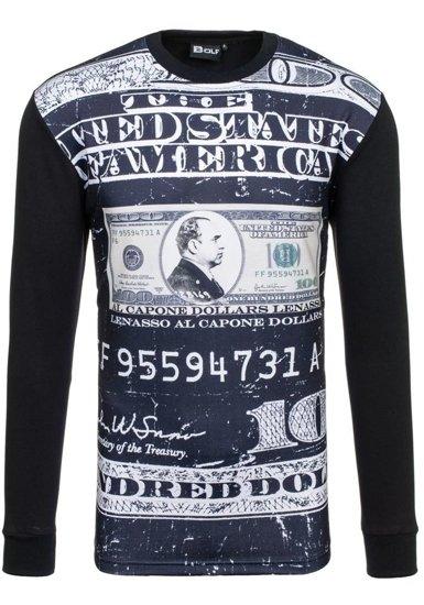 Bluza męska bez kaptura z nadrukiem czarna Bolf 70