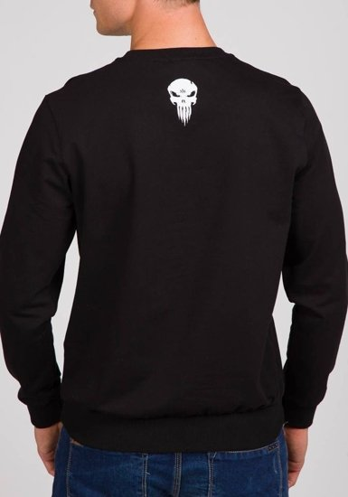 Bluza męska bez kaptura z nadrukiem czarna Denley 0740