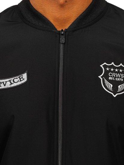 Bluza męska bez kaptura z nadrukiem czarna Denley 3803