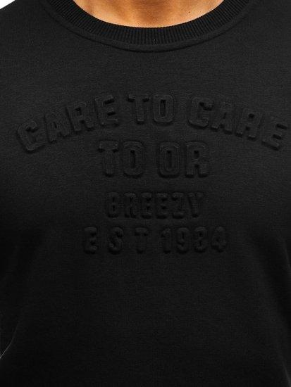Bluza męska bez kaptura z nadrukiem czarna Denley 9096