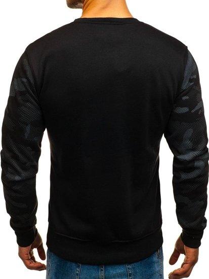 Bluza męska bez kaptura z nadrukiem czarna Denley DD08