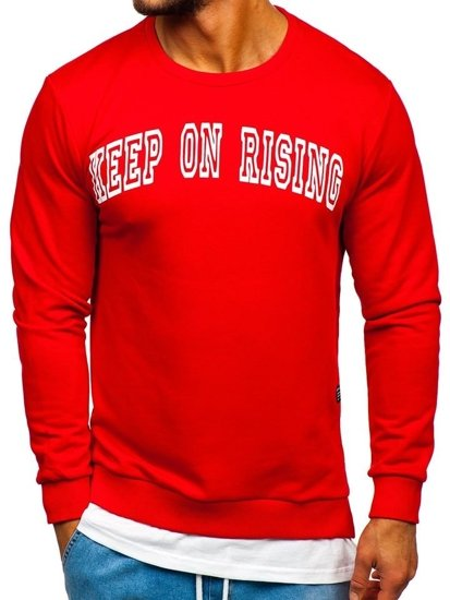 Bluza męska bez kaptura z nadrukiem czerwona Bolf 11114