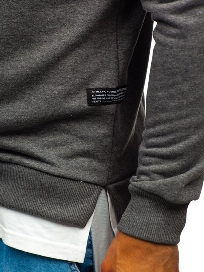 Bluza męska bez kaptura z nadrukiem grafitowa Bolf 11115