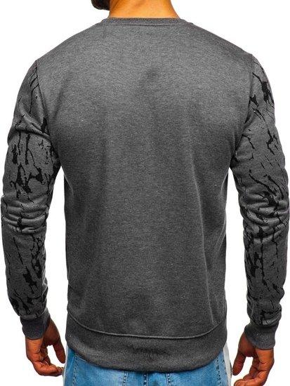 Bluza męska bez kaptura z nadrukiem grafitowa Denley DD15