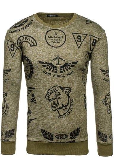 Bluza męska bez kaptura z nadrukiem khaki Denley 1717