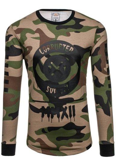Bluza męska bez kaptura z nadrukiem moro-khaki Denley 0755