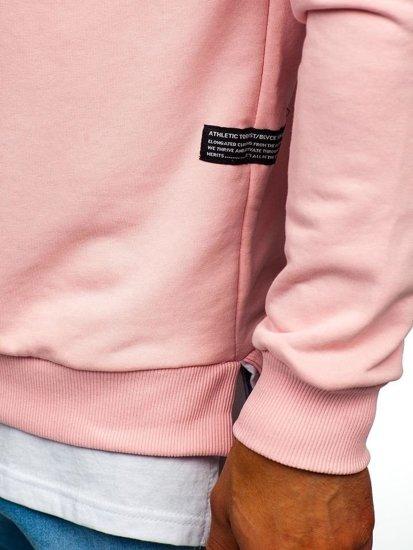 Bluza męska bez kaptura z nadrukiem różowa Bolf 11116