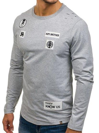 Bluza męska bez kaptura z nadrukiem szara Denley 0745