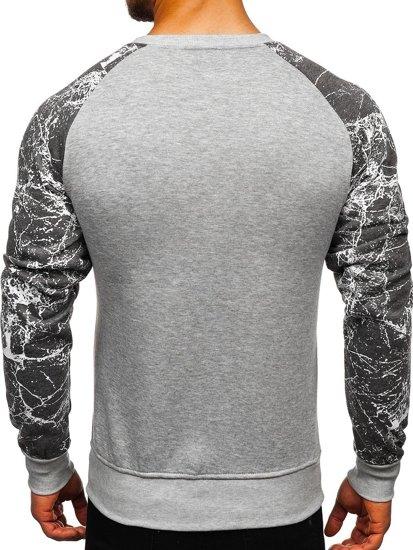 Bluza męska bez kaptura z nadrukiem szara Denley J39