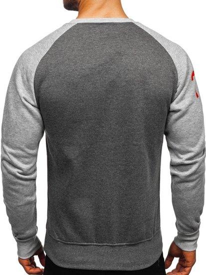 Bluza męska bez kaptura z nadrukiem szaro-antracytowa Denley J09
