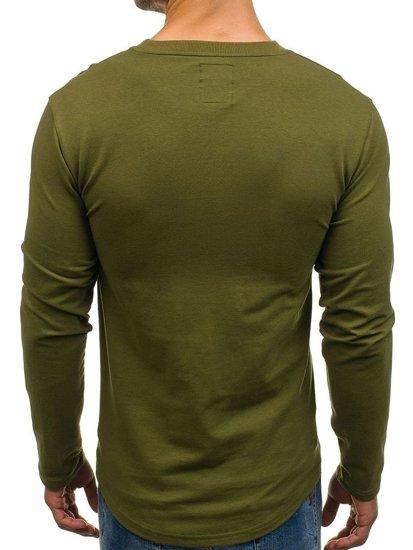 Bluza męska bez kaptura z nadrukiem zielona Denley 0745