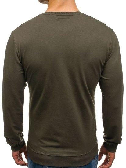 Bluza męska bez kaptura z nadrukiem zielona Denley M10