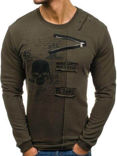 Bluza męska bez kaptura z nadrukiem zielona Denley NRT520