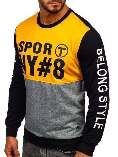 Bluza męska bez kaptura z nadrukiem żółta Denley HY541