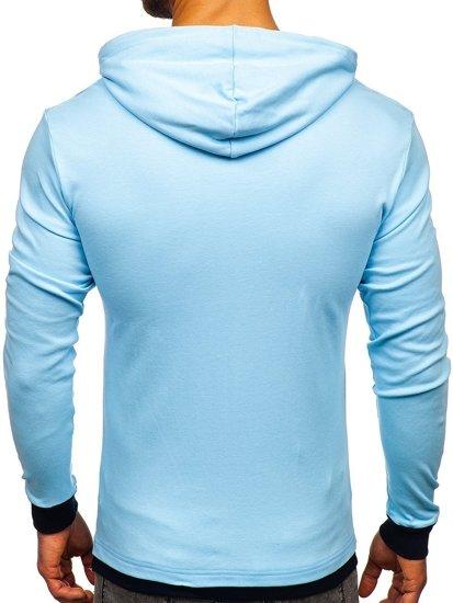 Bluza męska z kapturem błękitna Bolf 145380