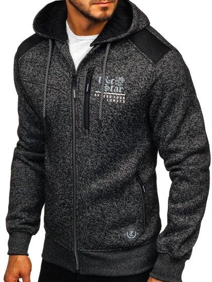 Bluza męska z kapturem czarna Denley 2095