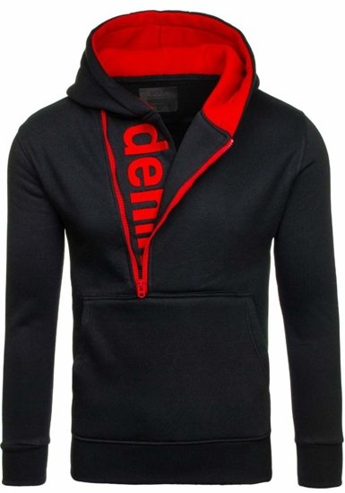 Bluza męska z kapturem czarno-czerwona Bolf Y10