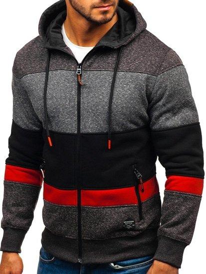 Bluza męska z kapturem czarno-czerwona Denley 3763