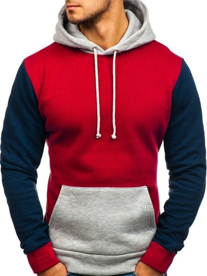 Bluza męska z kapturem czerwona Denley 9060