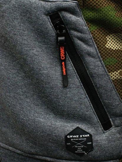 Bluza męska z kapturem grafitowa Denley 3736