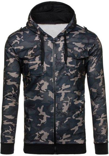 Bluza męska z kapturem moro-czarna Denley 2823