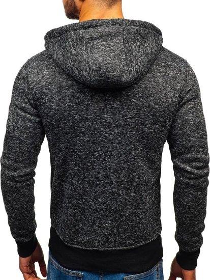 Bluza męska z kapturem rozpinana czarna Denley AK28