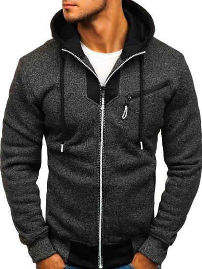Bluza męska z kapturem rozpinana czarna Denley TC813