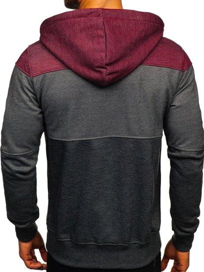 Bluza męska z kapturem rozpinana czarno-bordowa Denley 2063