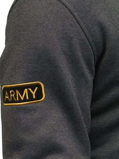 Bluza męska z kapturem rozpinana grafitowa Denley 2084