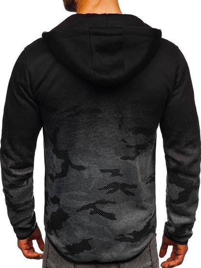 Bluza męska z kapturem rozpinana grafitowa Denley DD84-2