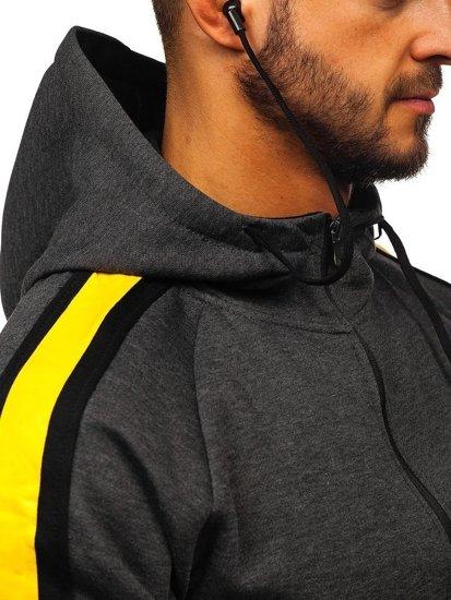 Bluza męska z kapturem rozpinana ze słuchawkami grafitowa Denley 81052